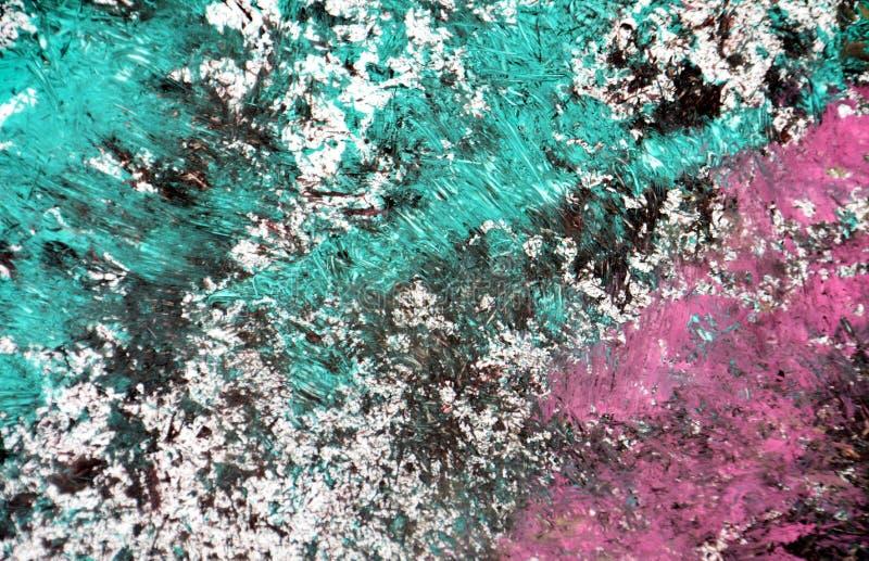 Los puntos verde oscuro blancos rosados púrpuras ponen en contraste el fondo de pintura de la acuarela, acrílico de la acuarela q imagen de archivo libre de regalías