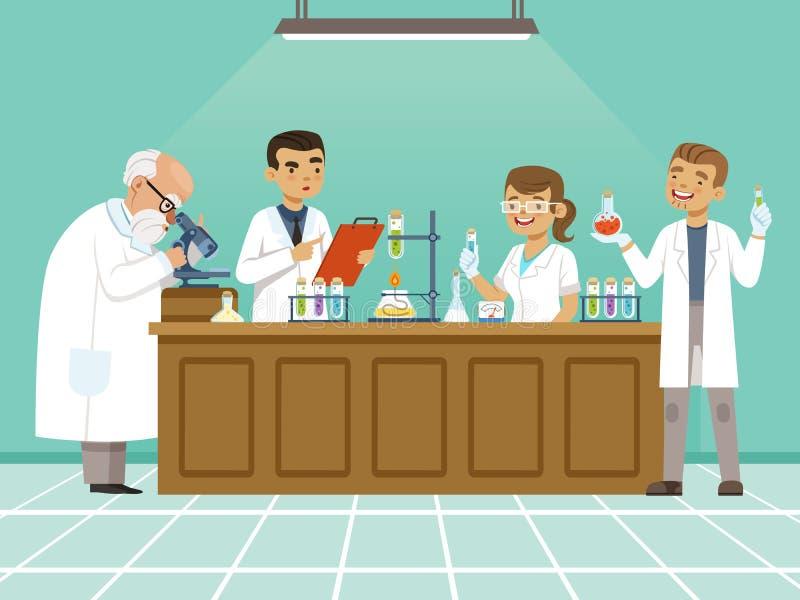 Los químicos profesionales en su laboratorio hacen diversos experimentos en la tabla Varón y trabajadores médicos de sexo femenin stock de ilustración