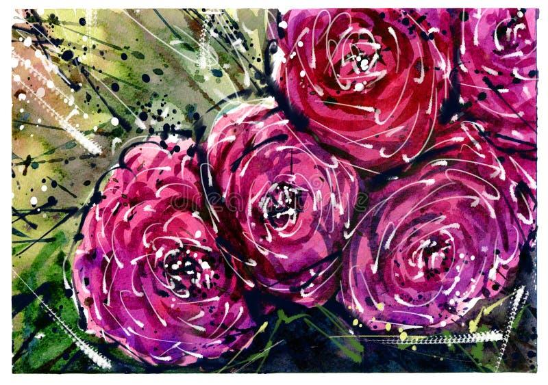 Los ramos de la flor de la pintura de la acuarela subieron stock de ilustración