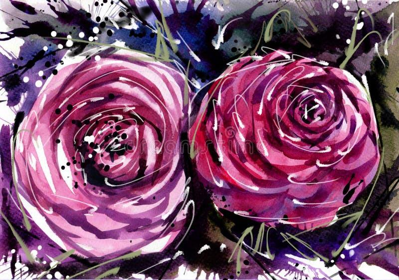 Los ramos de la flor de la pintura de la acuarela subieron libre illustration