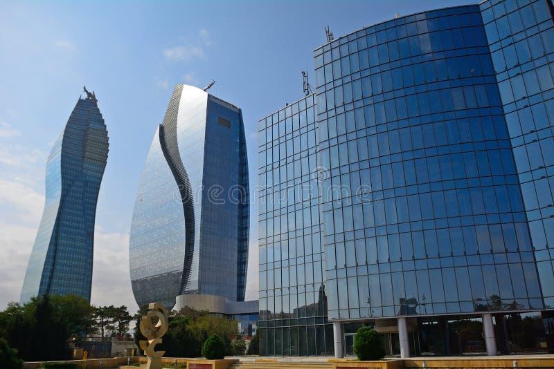 Los rascacielos de la fundación del aceite, Baku, Azerbaijan imágenes de archivo libres de regalías
