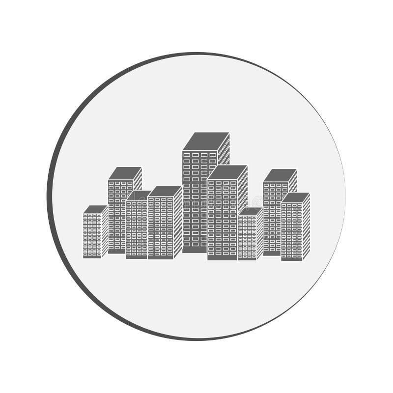 Los rascacielos siluetean en anillo en el fondo blanco ilustración del vector