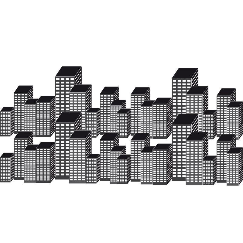 Los rascacielos siluetean en el fondo blanco stock de ilustración