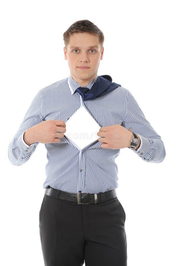 Los rasgones del hombre de negocios abren camisa imagen de archivo libre de regalías