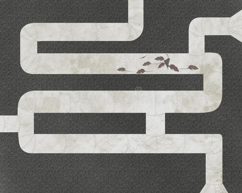 Los ratones y los tubos, ejemplo gráfico abstracto ilustración del vector