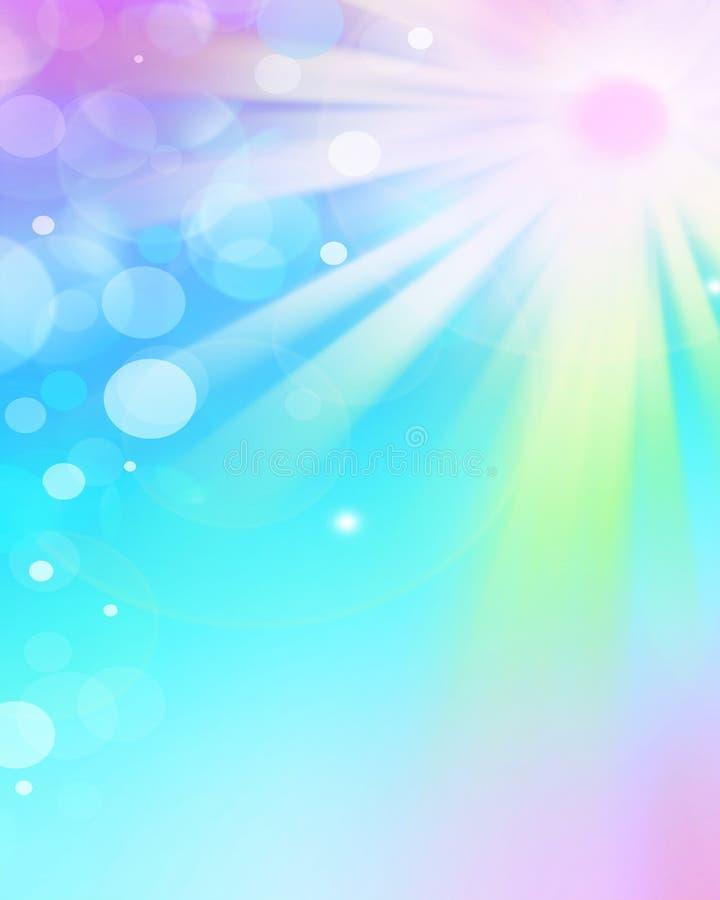 Los rayos de la luz coloridos, extracto estallaron el fondo stock de ilustración