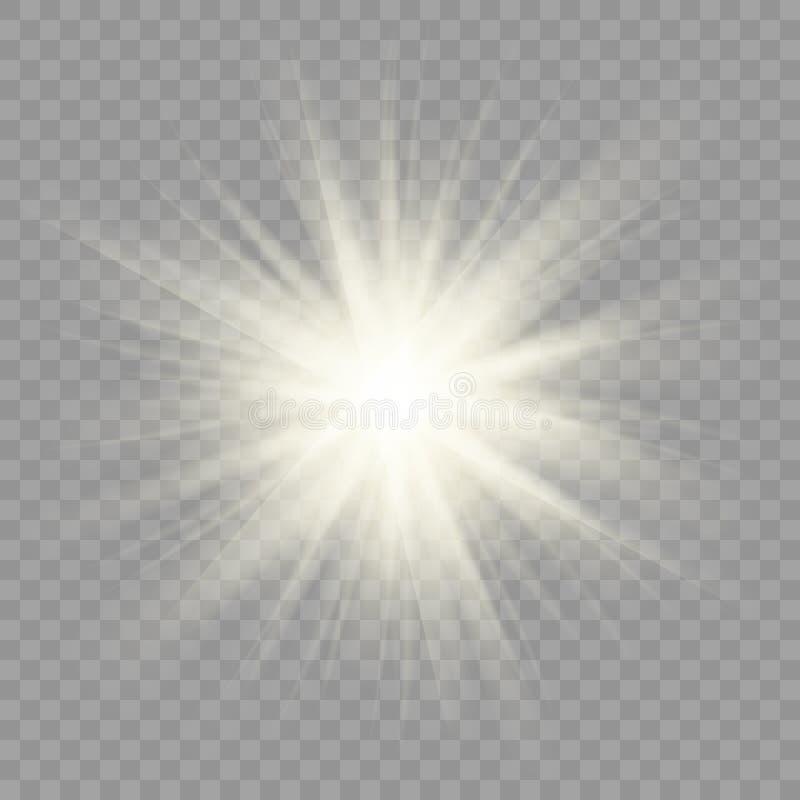 Los rayos de Sun chispean en fondo transparente libre illustration