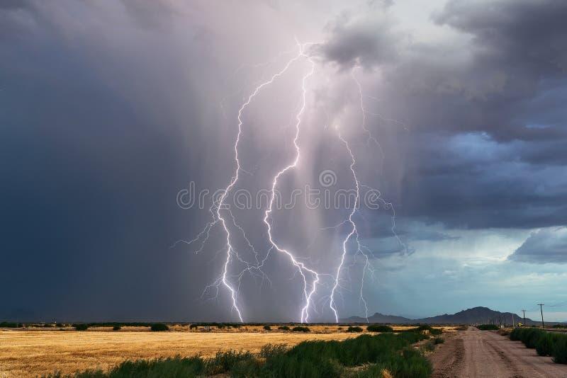 Los rayos pegan de una tempestad de truenos en Arizona imagen de archivo