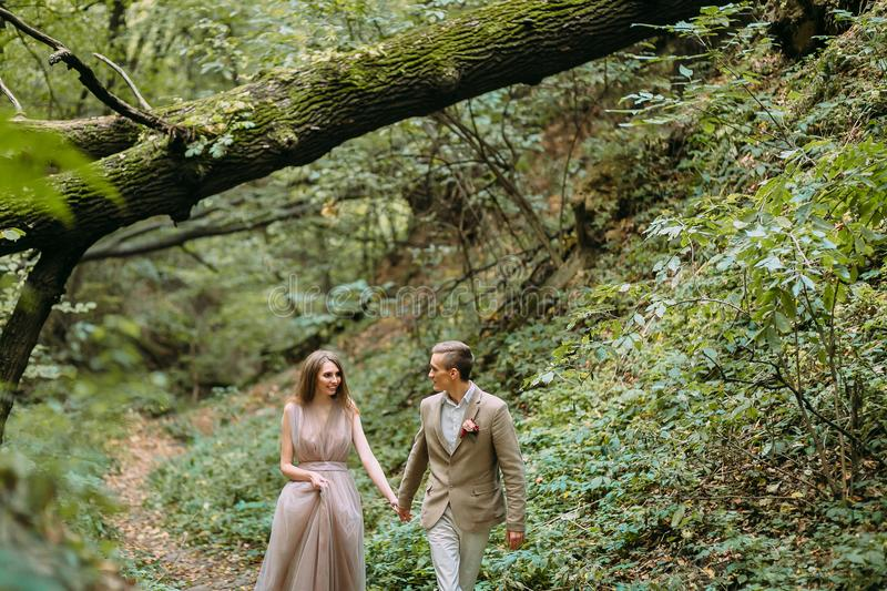Los recienes casados elegantes están caminando en un rastro en un lugar romántico hermoso en la naturaleza Ceremonia de boda al a fotografía de archivo