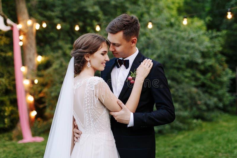 Los recienes casados enamorados tratan abrazo con suavidad Ceremonia de boda en naturaleza Las luces de la guirnalda eléctrica il foto de archivo libre de regalías