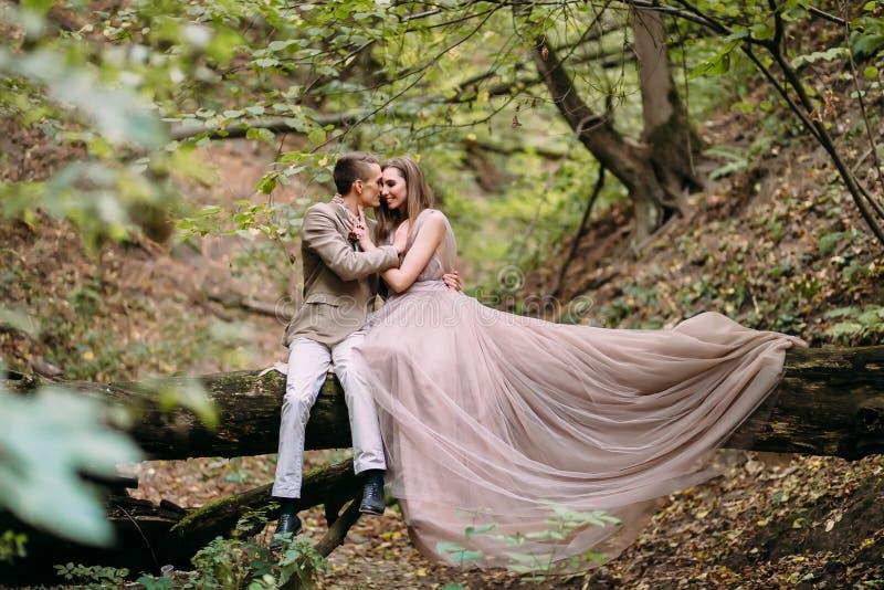 Los recienes casados están abrazando blando en una tela escocesa en la novia del bosque en vestido largo hermoso se sientan en el fotos de archivo libres de regalías