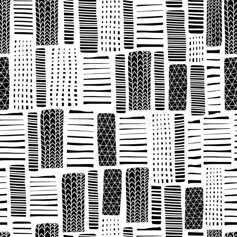 Los rectángulos dan el modelo inconsútil exhausto del vector Líneas negras en el fondo blanco Diseño monocromático Contexto textu stock de ilustración