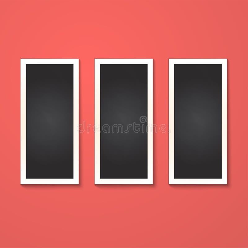 Los rectángulos enmarcan aislado en rojo fotos de archivo