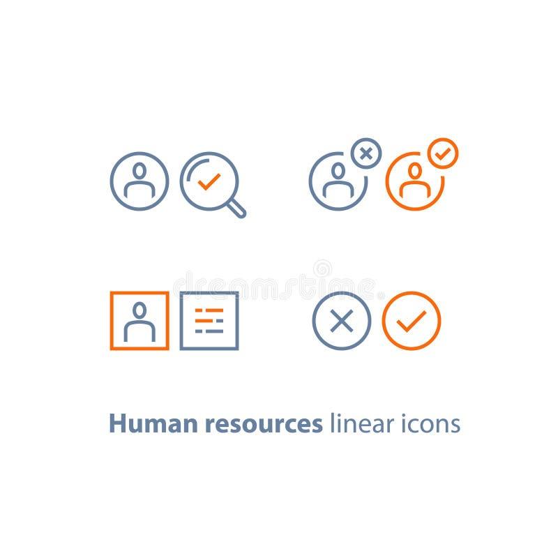 Los recursos humanos, eligen al candidato, servicio del reclutamiento, vacante del terraplén, concepto del empleo, comentario del ilustración del vector