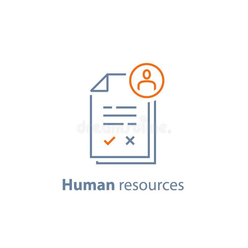 Los recursos humanos, eligen al candidato, servicio del reclutamiento, vacante del terraplén, concepto del empleo, comentario del stock de ilustración