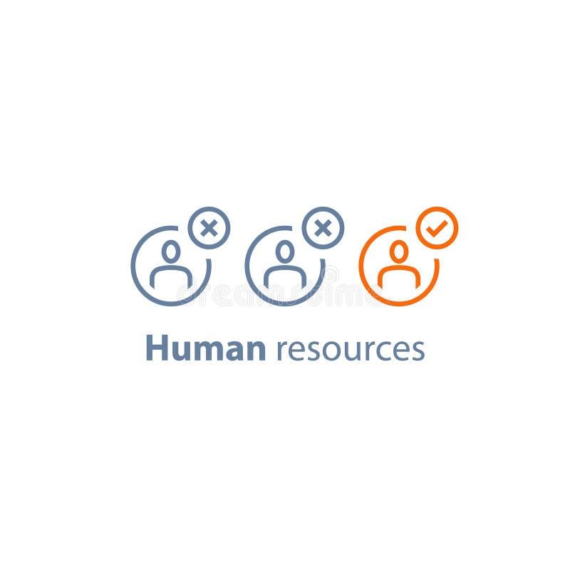 Los recursos humanos, eligen al candidato, servicio del reclutamiento, vacante del terrapl?n, concepto del empleo libre illustration
