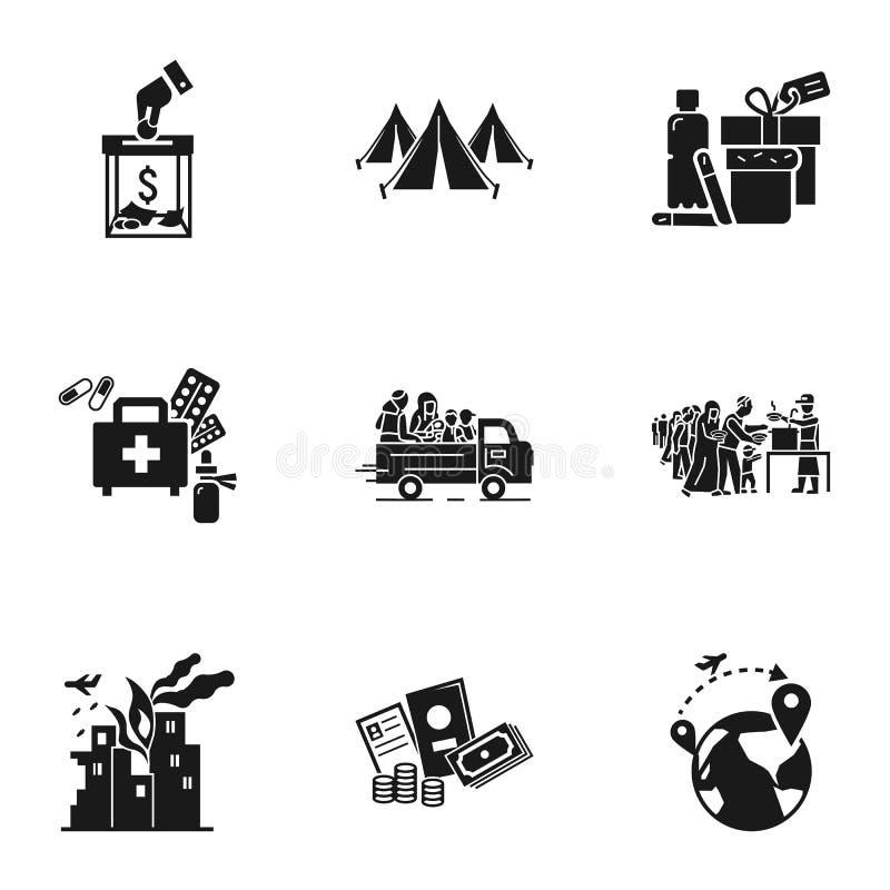 Los refugiados ayudan al sistema del icono, estilo simple ilustración del vector