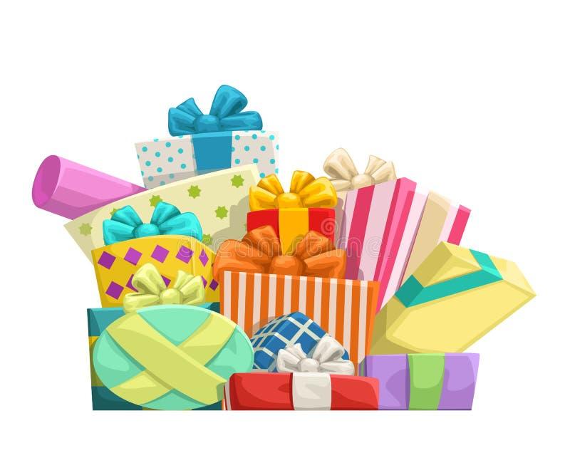 Los regalos agrupan en blanco ilustración del vector