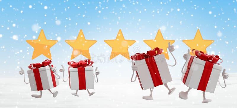 Los regalos de Navidad felices saltan con el fondo 3d-illustration de las estrellas y de los copos de nieve libre illustration