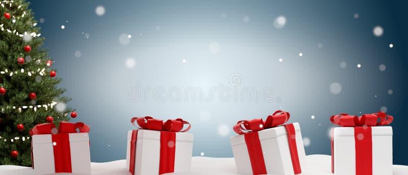 Los regalos de Navidad ponen verde el fondo del abeto y de las nubes con los copos de nieve 3d-illustration ilustración del vector