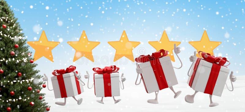 Los regalos de Navidad ponen verde el fondo del abeto y de las nubes con los copos de nieve 3d-illustration libre illustration