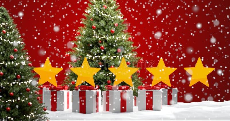 Los regalos de Navidad ponen verde el fondo de las estrellas y de las nubes del abeto con los copos de nieve 3d-illustration ilustración del vector