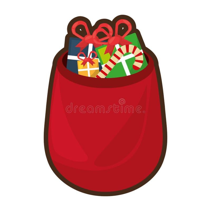 Los regalos del bolso de la Navidad aislaron el icono libre illustration