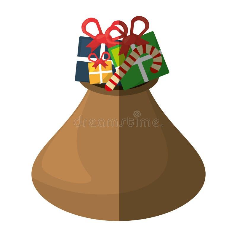 Los regalos del bolso de la Navidad aislaron el icono stock de ilustración
