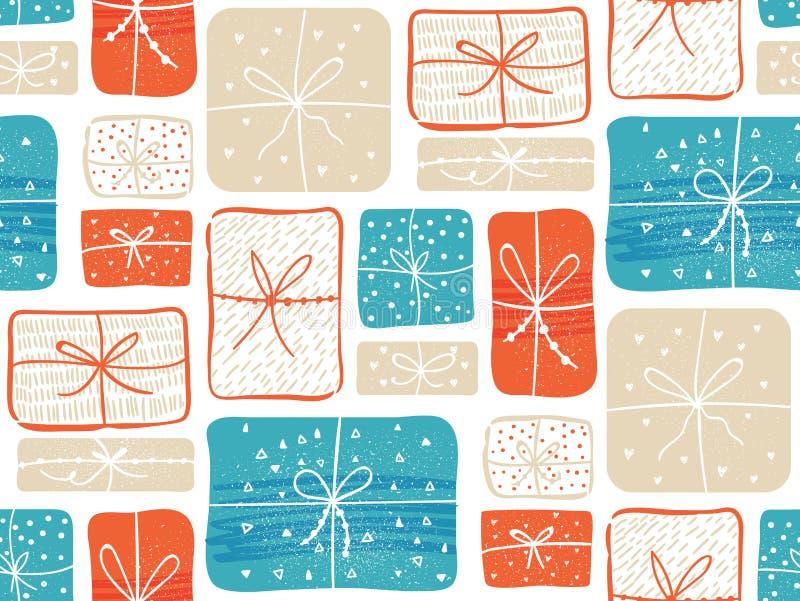 Los regalos modelan con las actuales cajas rojas y del azul Fondo inconsútil del vector ilustración del vector