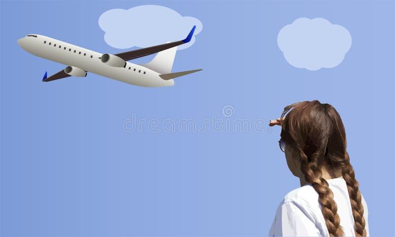 Los relojes de la mujer dejan el avión del lanzamiento contra el fondo foto de archivo libre de regalías