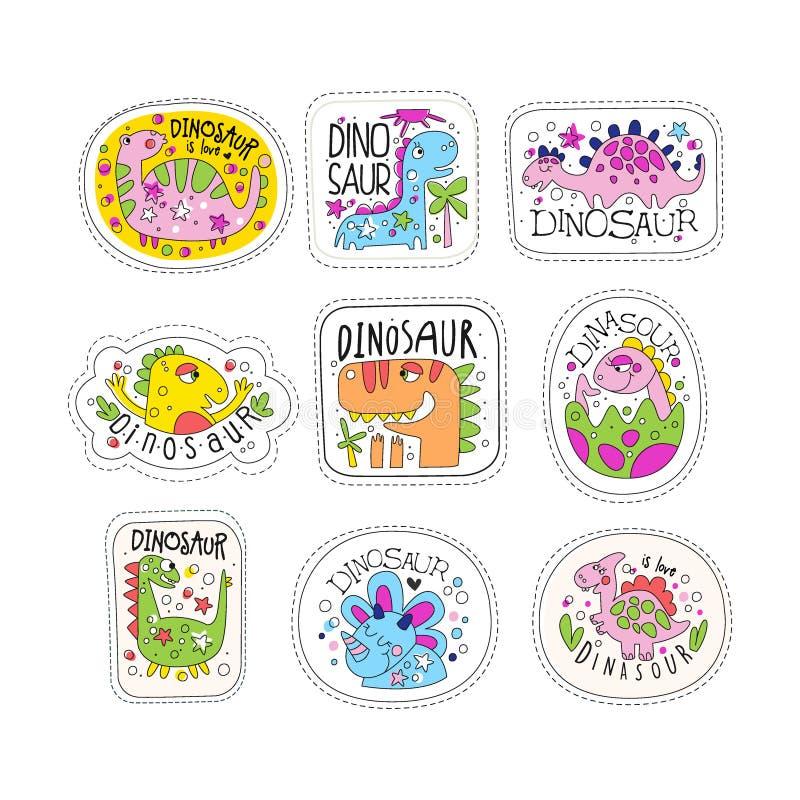 Los remiendos lindos del dinosaurio fijaron, las etiquetas engomadas coloridas de moda del unicornio en diversos ejemplos del vec libre illustration