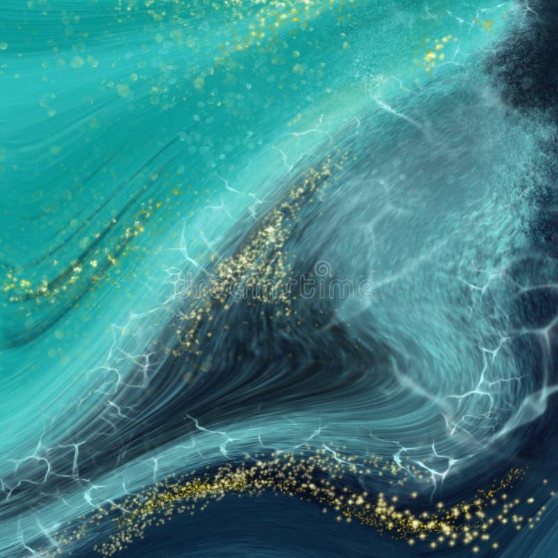 Los remolinos del mármol o de las ondulaciones de la ágata Pintura azul muy hermosa con la adici?n del polvo del oro libre illustration