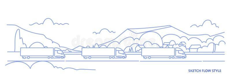 Los remolques del camión del cargo que conducen la carretera del camino sobre las montañas ajardinan el transporte logístico de l ilustración del vector