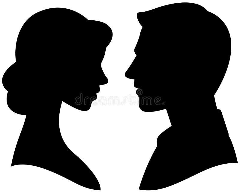 Los retratos sirven y mujer en perfil ilustración del vector