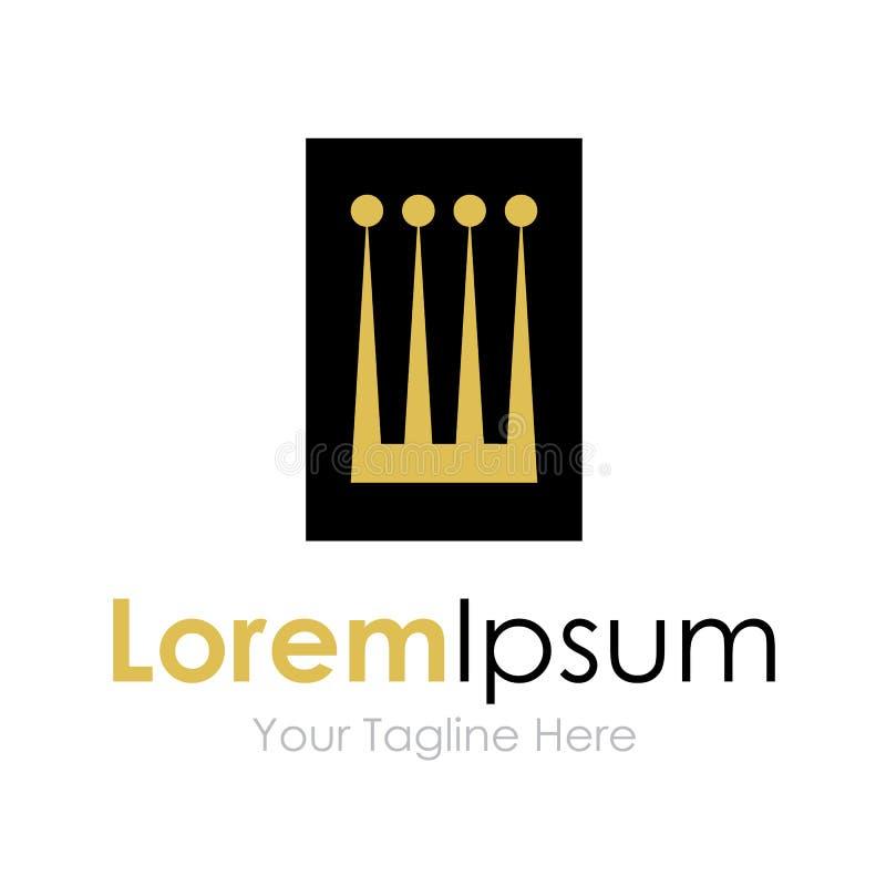 Los reyes reales del oro grande coronan el logotipo simple del icono del negocio ilustración del vector