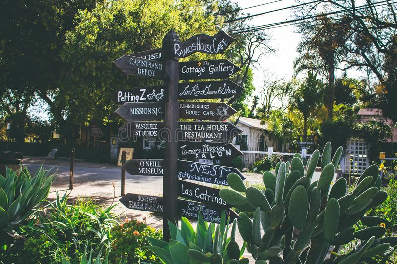 Los Rios District Street signs. An intersection street sign set of rustic wooden signs point in the direction of each retail store at the Los Rios Historic royalty free stock image