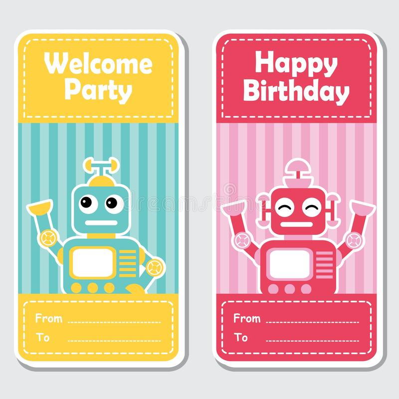 Los robots azules y rojos lindos en el fondo rayado conveniente para la etiqueta del cumpleaños diseñan stock de ilustración