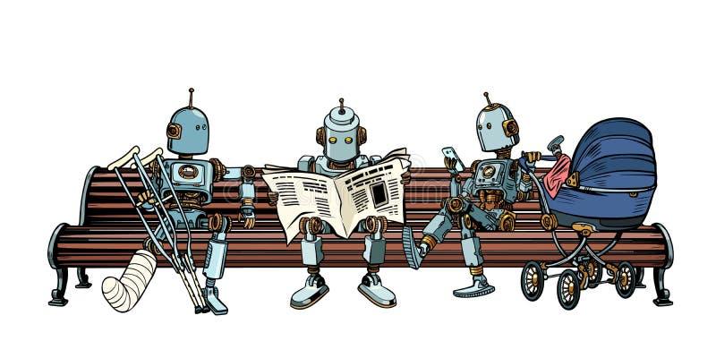 Los robots están descansando sobre un banco de parque stock de ilustración