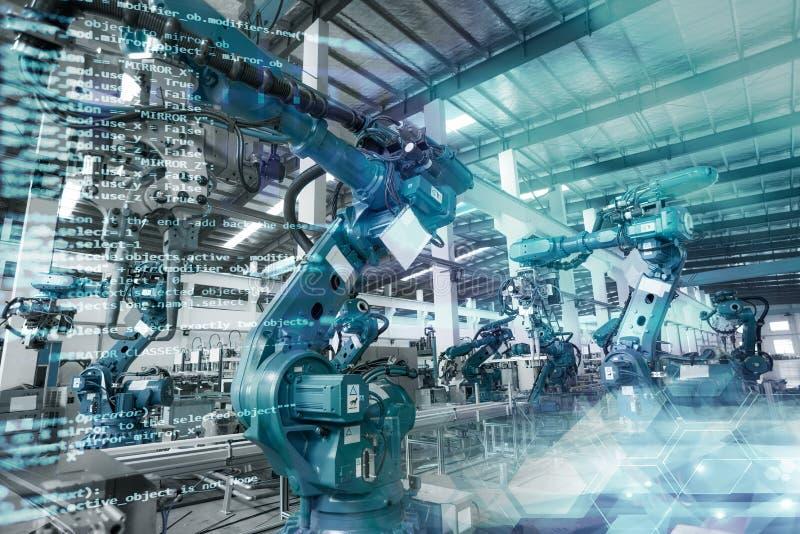 Los robots industriales están siendo manufacturados y montados stock de ilustración