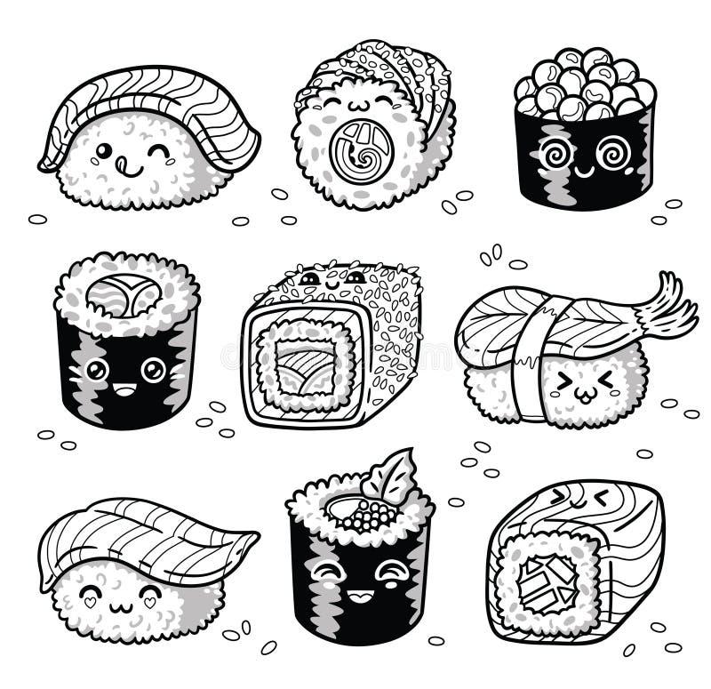 Los Rollos De Kawaii Y La Historieta Del Manga Del Sushi Fijaron En ...