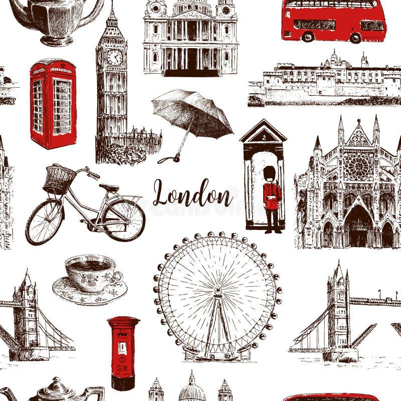 Los símbolos arquitectónicos de Londres dan a vector exhausto bosquejo inconsútil del modelo stock de ilustración