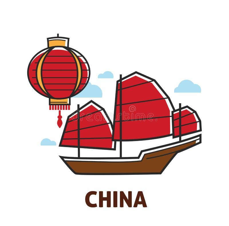 Los símbolos chinos viajan a la linterna de China y a la nave de los desperdicios libre illustration