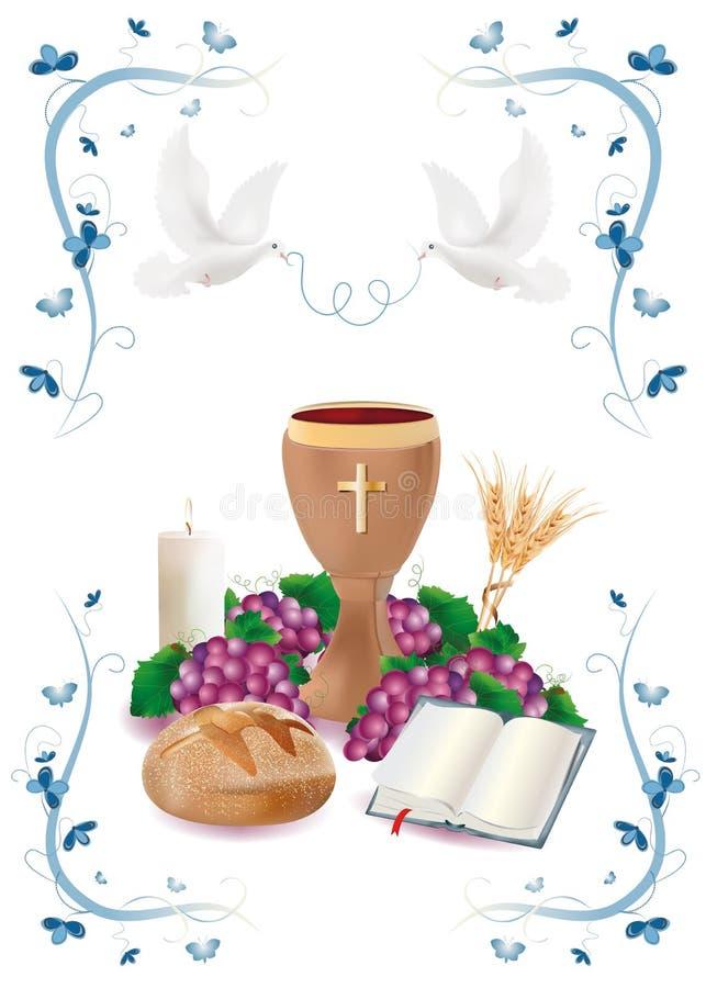 Los símbolos cristianos aislados con los cáliz-pan-biblia-uva-vela-donde-oídos de madera de ornamentos trigo-azules florecen y la libre illustration