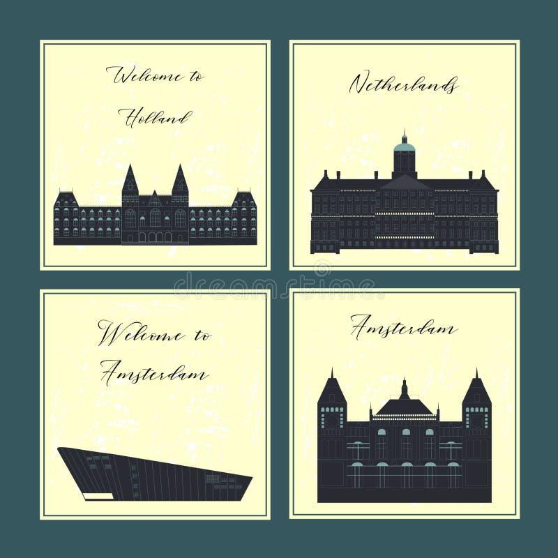 Los símbolos culturales y de visitas turísticos de excursión del viaje de Holanda enmarcan el cartel del fondo Ilustración del ve ilustración del vector