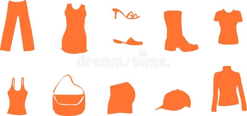 Los símbolos de la manera y del modo como el zapato de la camisa visten el bolso libre illustration