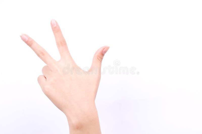 Los símbolos de la muchacha de la mano del finger aislaron la enhorabuena del saludo de los fingeres del concepto tres en el fond imagenes de archivo