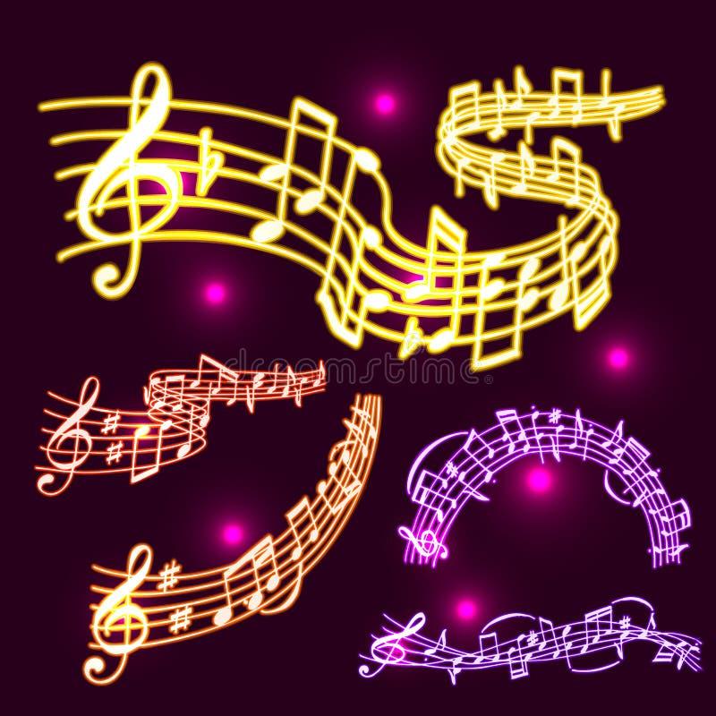 Los símbolos de neón del músico del colorfull de la melodía de la música del vector de las notas suenan el texto de la melodía qu stock de ilustración