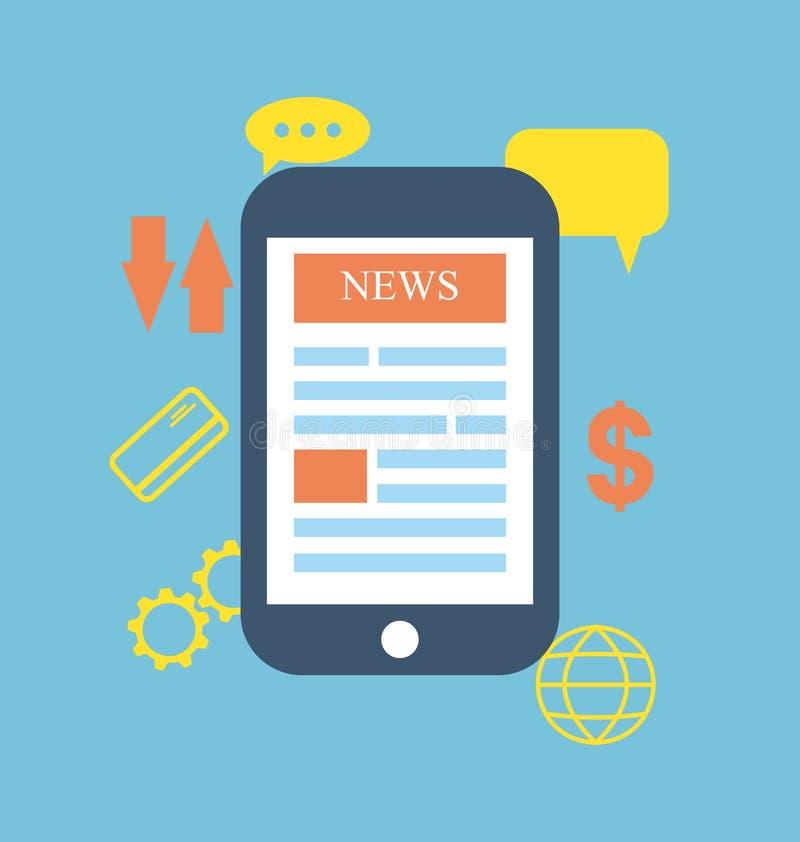 Los símbolos del concepto del icono llaman por teléfono a onli global del negocio de información de las noticias ilustración del vector