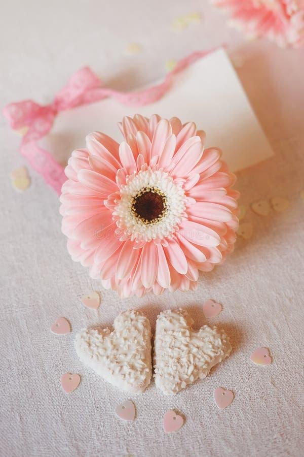 Los símbolos del día del ` s de la tarjeta del día de San Valentín ofrecen las flores rosadas y el corazón del gerbera sh imágenes de archivo libres de regalías