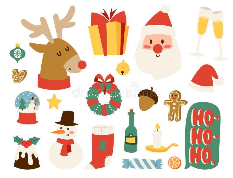 Los símbolos del vector de los iconos de la Navidad para la celebración del Año Nuevo del invierno de la tarjeta de felicitación  stock de ilustración